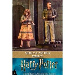 HARRY POTTER MINIATURES ADVENTURE GAME - MOLLY AND ARTHUR WEASLEY MINI RESIN STATUE FIGURE KNIGHT MODELS