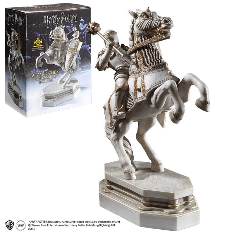 NOBLE COLLECTIONS HARRY POTTER - WIZARD CHESS WHITE KNIGHT BOOKEND FERMALIBRI IN RESINA