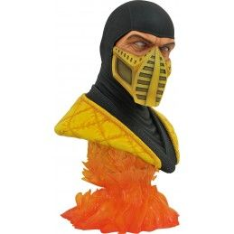 DIAMOND SELECT MORTAL KOMBAT 11 - SCORPION LEGENDS IN 3D 1/2 BUST STATUE 25CM RESIN FIGURE