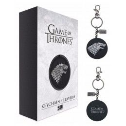 SD TOYS GAME OF THRONES STARK SILVER LOGO METAL KEYCHAIN PORTACHIAVI