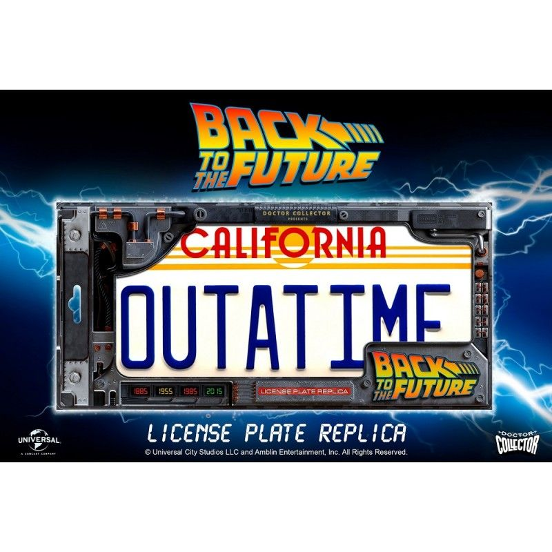 BACK TO THE FUTURE - OUTATIME LICENSE PLATE LEGACY COLLECTION TARGA REPLICA DOCTOR COLLECTOR