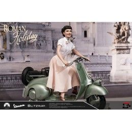 VACANZE ROMANE (ROMAN HOLIDAY) - PRINCESS ANN AND VESPA 125 REPLICA 45X50 CM STATUE FIGURE BLITZWAY