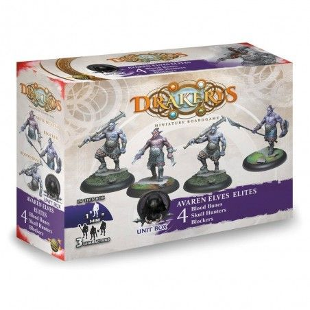 DRAKERYS MINIATURE BOARDGAME - AVAREN ELVES ELITES 4 BLOOD BANES / SKULL HUNTERS / BLOCKERS FIGURE SET