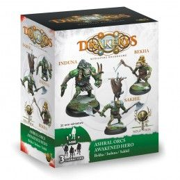 DRAKERYS MINIATURE BOARDGAME - ASHRAL ORCS AWAKENED HERO BEKHA / INDUNA / SAKHIL FIGURE SET DO NOT PANIC GAMES
