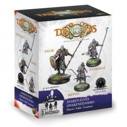 DRAKERYS MINIATURE BOARDGAME - AVAREN ELVES AWAKENED HERO: MINVIS / SALIK / ZANDARAI FIGURE SET DO NOT PANIC GAMES