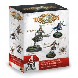 DO NOT PANIC GAMES DRAKERYS MINIATURE BOARDGAME - IROSIA PALADINATE AWAKENED HEROINE CELESTE / EORANN / KARYA FIGURE SET