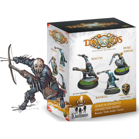 DRAKERYS MINIATURE BOARDGAME - AURIUM DWARVES AWAKENED HERO BANRIM / DUKE AMDIR / NOCTIS FIGURE SET