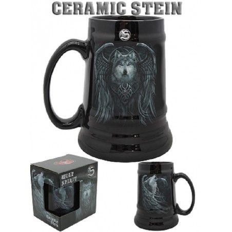 SPIRAL WOLF SPIRIT CERAMIC STEIN BOCCALE IN CERAMICA
