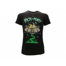 MAGLIA T SHIRT RICK AND MORTY NAVICELLA UFO NERA