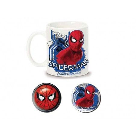 MARVEL SPIDER-MAN HOMECOMING CERAMIC MUG AND PINS SET TAZZA E SPILLE
