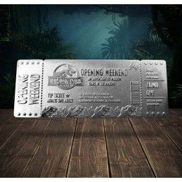 CHRONICLE COLLECTIBLES JURASSIC PARK OPENING WEEK-END VIP TICKET SILVER PLATED REPLICA 1/1