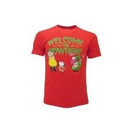 MAGLIA T SHIRT LEONE CANE FIFONE COURAGE DOG WELCOME ROSSA