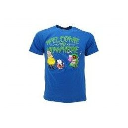 MAGLIA T SHIRT LEONE CANE FIFONE COURAGE DOG WELCOME BLU