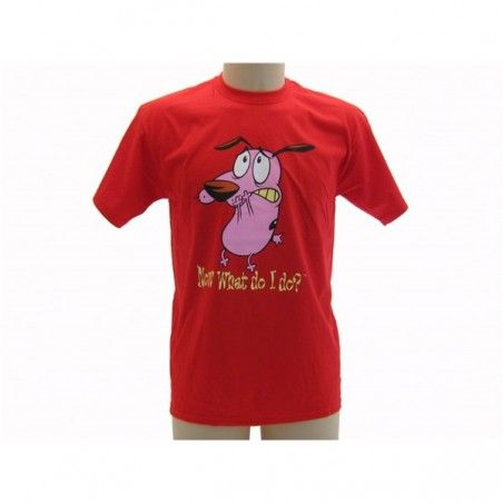 MAGLIA T SHIRT LEONE CANE FIFONE COURAGE DOG NOW WHAT ROSSA