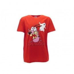MAGLIA T SHIRT LEONE CANE FIFONE COURAGE COWARDLY DOG ROSSA