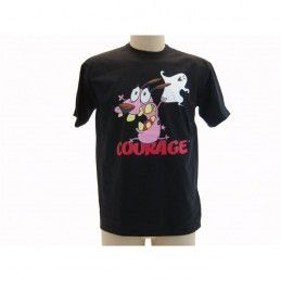 MAGLIA T SHIRT LEONE CANE FIFONE COURAGE COWARDLY DOG NERA