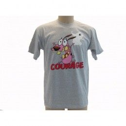 MAGLIA T SHIRT LEONE CANE FIFONE COURAGE COWARDLY DOG GRIGIA