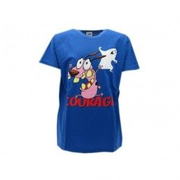 MAGLIA T SHIRT LEONE CANE FIFONE COURAGE COWARDLY DOG BLU