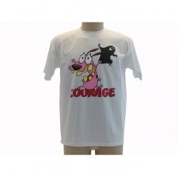 MAGLIA T SHIRT LEONE CANE FIFONE COURAGE COWARDLY DOG BIANCA