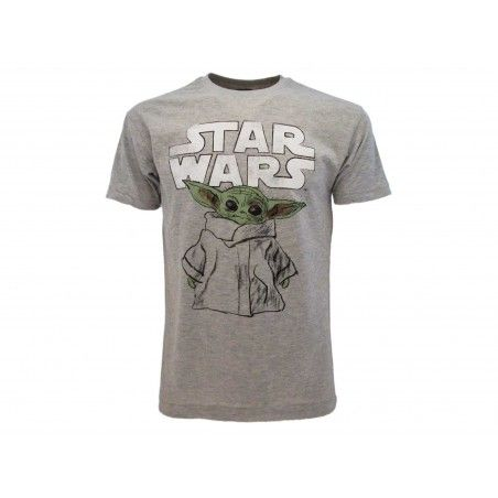 MAGLIA T SHIRT STAR WARS MANDALORIAN THE CHILD (BABY YODA) GRIGIA