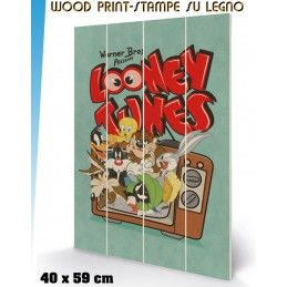 PYRAMID INTERNATIONAL LOONEY TUNES RETRO TV WOOD PRINT STAMPA SU LEGNO 40 X 60 CM