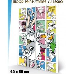 LOONEY TUNES BUGS BUNNY WOOD PRINT STAMPA SU LEGNO 40 X 60 CM PYRAMID INTERNATIONAL