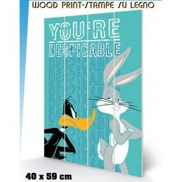 PYRAMID INTERNATIONAL LOONEY TUNES BUGS BUNNY DUFFY DUCK YOU'RE DESPICABLE WOOD PRINT STAMPA SU LEGNO 40 X 60 CM