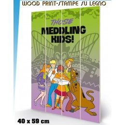 PYRAMID INTERNATIONAL SCOOBY DOO MEDDLING KIDS WOOD PRINT STAMPA SU LEGNO 40 X 60 CM
