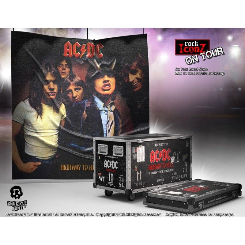 ROCK ICONZ - AC/DC ON TOUR HIGHWAY TO HELL ROAD CASE AND STAGE BACKDROP STATUE 15 CM RESIN FIGURE KNUCKLEBONZ