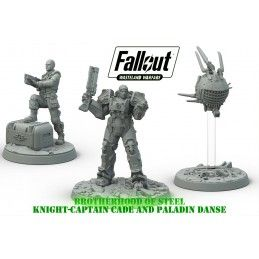 MODIPHIUS ENTERTAINMENT FALLOUT WASTELAND WARFARE - CAPTAIN CADE AND PALADIN DANSE MINIATURES SET