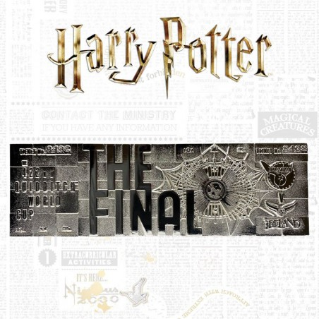 HARRY POTTER QUIDDITCH WORLD CUP TICKET SILVER PLATED REPLICA 1/1
