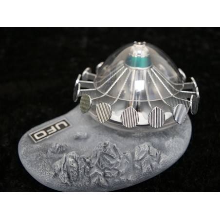 UFO ALIEN SAUCER WITH LUNAR DISPLAY BASE FIGURE REPLICA