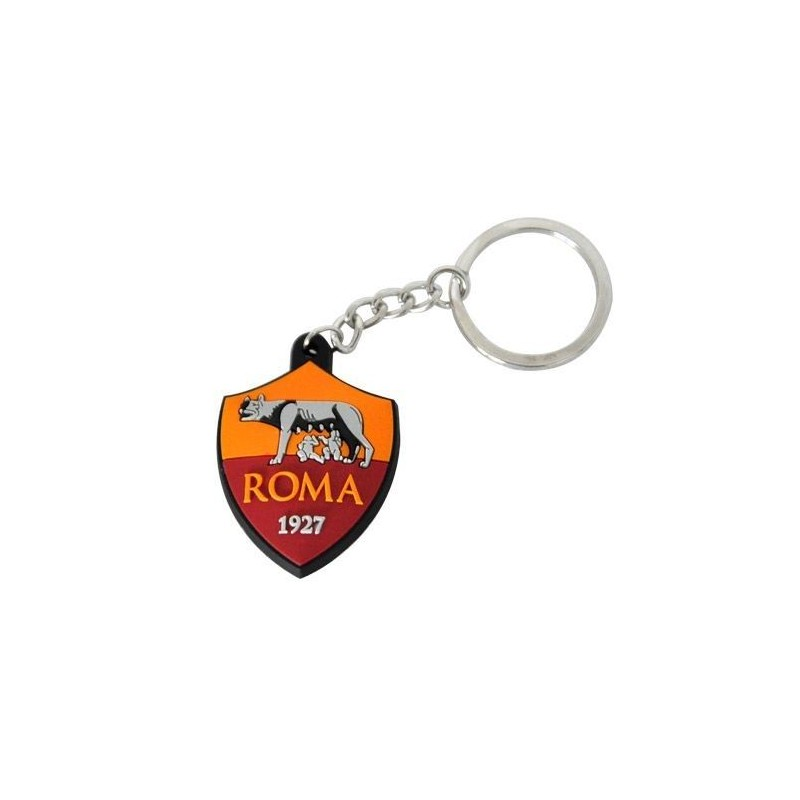 AS ROMA LOGO IN GOMMA KEYCHAIN PORTACHIAVI