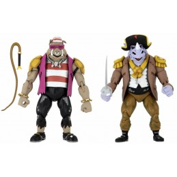 NECA TMNT TURTLES IN TIME ROCKSTEADY AND BEBOP ACTION FIGURE
