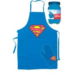 SD TOYS SUPERMAN LOGO APRON AND OVEN GLOVE GREMBIULE E GUANTO FORNO