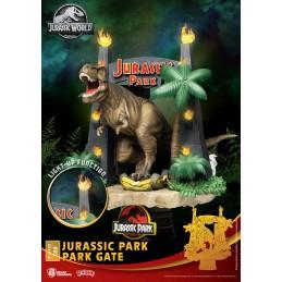 BEAST KINGDOM D-STAGE JURASSIC PARK GATE T-REX STATUE FIGURE DIORAMA