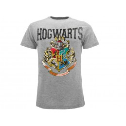 MAGLIA T SHIRT HARRY POTTER HOGWARTS CREST GREY