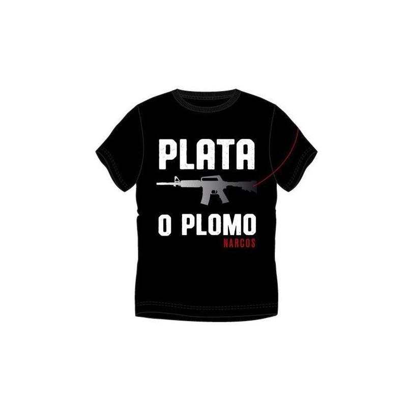 MAGLIA T SHIRT NARCOS PLATA O PLOMO