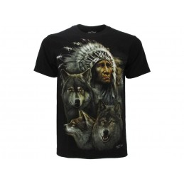 ROCK CHANG  MAGLIA T SHIRT NATIVE AMERICANS CHIEF WOLVES